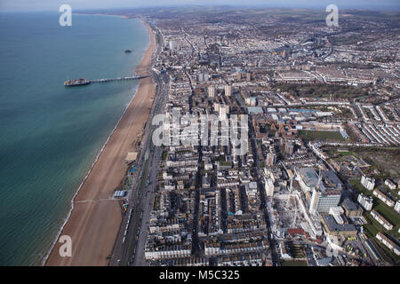 An aerial view of Brighton, a city on the Sussex coast in Southern England - Stock Image