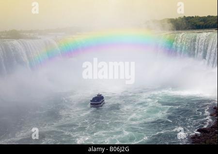 Niagara's Horseshoe Falls and Rainbow - Stock Image