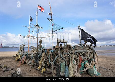 Pirate Ship 'Black Pearl', New Brighton. - Stock Image