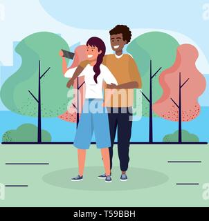 woman and man couple together with smartphone vector illustration - Stock Image