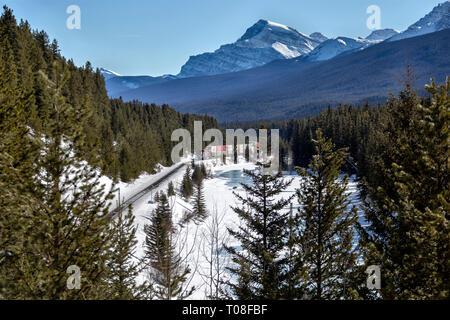 Lake Louise Rocky Mountains Train Tracks Morants Curve Canada - Stock Image