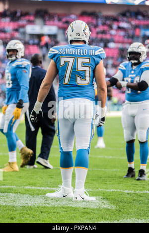 21st October 2018 LONDON, ENG - NFL: OCT 21 International Series - Titans at Chargers  Los Angeles Chargers Offensive Guard Michael Schofield (75) - Credit Glamourstock - Stock Image