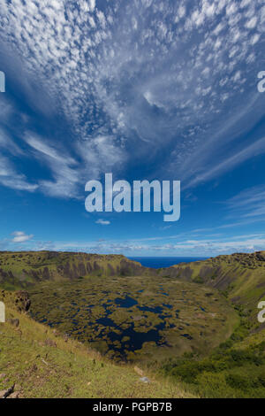 Flooded volcanic crater at the southern end of Easter Island (Rapa Nui) - Stock Image