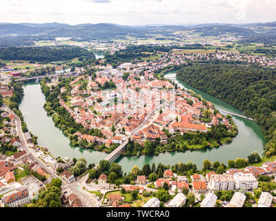 Aerial view of red roofs of Novo Mesto, previously Rudolfswerth or Newestat, Slovenia, Lower Carniola region, near Croatia. Historic Kandija iron brid - Stock Image