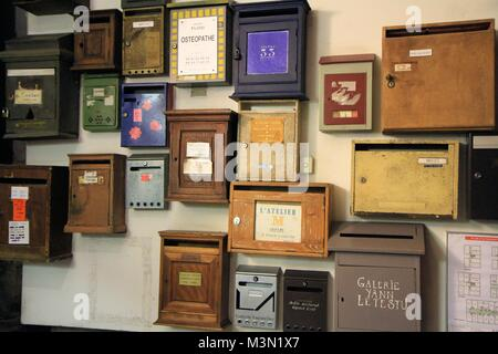 A wall of vintage letter boxes, Marseille, Provence, France - Stock Image