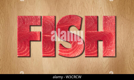 Fish word covered in raw fish texture on a wooden cutting board - Stock Image