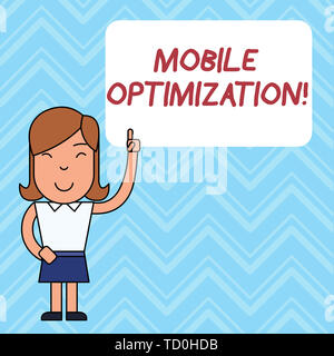 Word writing text Mobile Optimization. Business photo showcasing Site Content Reformatted for Handheld or Tablet Devices Woman Standing with Raised Le - Stock Image