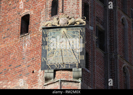 Sundial on Gdansk Main Town Hall building - Stock Image