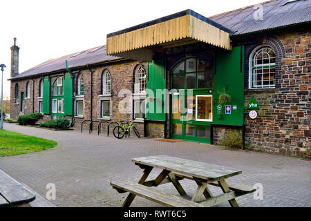 YHA Okehampton Youth Hostel on granite way cycle track, next to Dartmoor heritage railway, Devon - Stock Image
