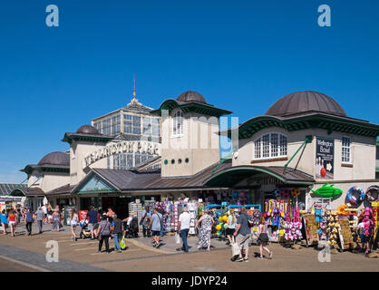 Busy Summer Seafront beside The Wellington Pier with it colourful gifts, Great Yarmouth, Norfolk, England, UK - Stock Image