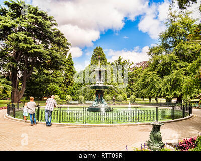 8 January 2019: Christchurch, New Zealand - The Peacock Fountain in Christchurch Botanic Gardens. - Stock Image