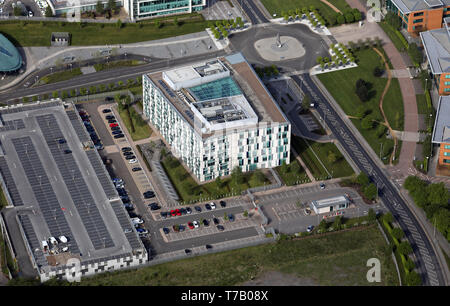 aerial view of Greater Manchester Police Headquarters, Monsall, Moston Vale, Manchester - Stock Image