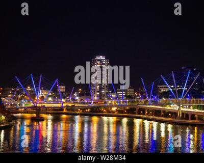 Bridge Across The Brisbane River At Night - Stock Image
