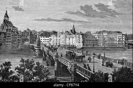 Cityscape of Basel, Switzerland, Europe, historic engraving from the 19th century, Stadtansicht von Basel, Schweiz, - Stock Image