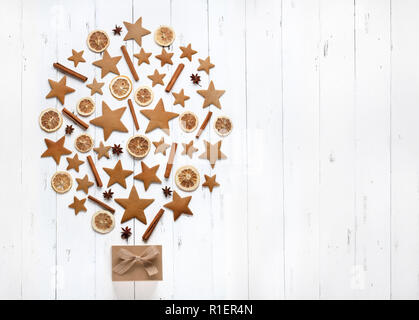Christmas tree of cookies and baking ingredient - Stock Image