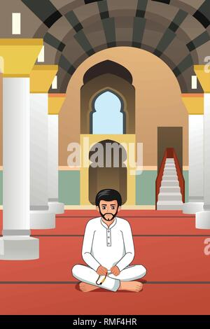 A vector illustration of Muslim Man Praying in a Mosque - Stock Image