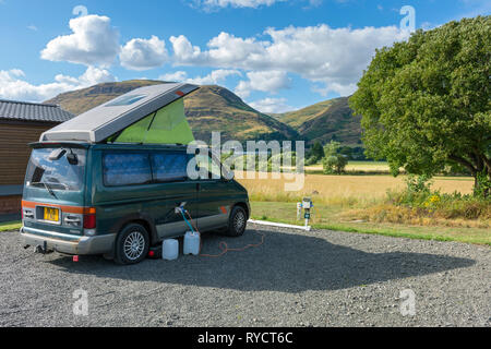 The Ochil Hills from the Woods caravan site, near Alva, Clackmannanshire, Scotland, UK - Stock Image