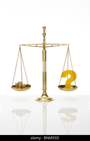 Weighing Scales with Question Mark and Stack of Pound Coins - Stock Image