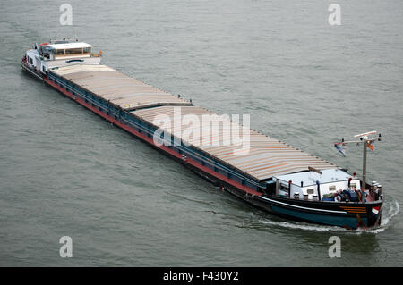 Temporeel barge, river Rhine, Leverkusen, Germany. - Stock Image