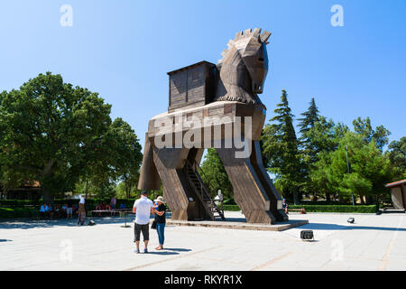 TROY, CANAKKALE, TURKEY - AUGUST 25, 2017: Wooden Trojan Horse in the Ancient City of Troy, Turkey. - Stock Image