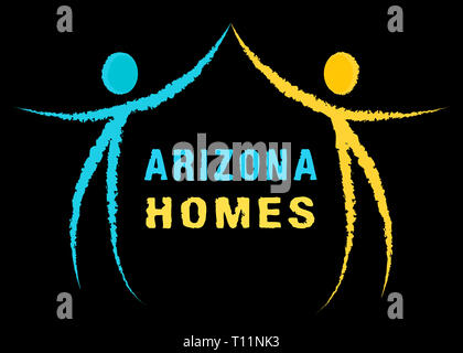 Arizona Real Estate Icon Represents Purchasing Or Buying Through A Broker In Az Usa 3d Illustration - Stock Image
