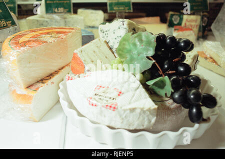Cheese Selection, displayed in shop. 22nd February 1999. - Stock Image
