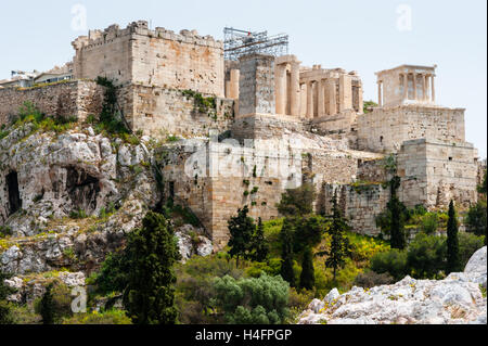 Athens, Greece. View of Acropolis from Areopagus with the Propylaea. - Stock Image