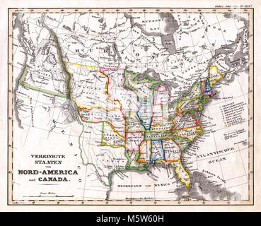 1844 Stieler Map - United States & Western Territories - Stock Image