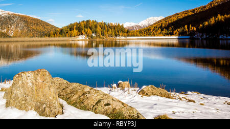 autumn landscape in Ultental ( Ultimo Valley) with a trees in autumn colors.the little Weissbrun lake at almost 1,900 m a.s.l.,Dolomites, South Tyrol, - Stock Image