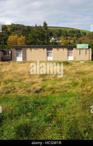 Newtown Back Lane bowling club bowling green with overgrown grass, Powys Wales UK - Stock Image