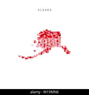 I Love Alaska. Red and Pink Hearts Pattern Vector Map of Alaska Isolated on White Background. - Stock Image