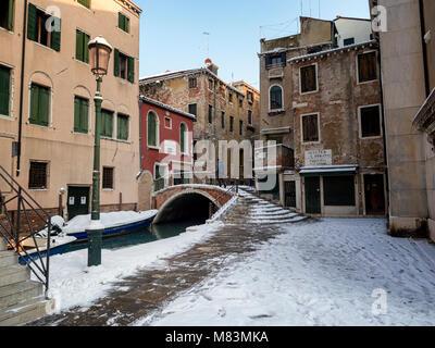 italy, in winter:  snow in Venice - Stock Image