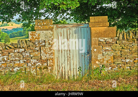 A wooden door in a Cotswold stone wall - Stock Image