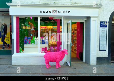 Neon Sheep Shop,Keswick,Cumbria,Lake District,England,UK - Stock Image
