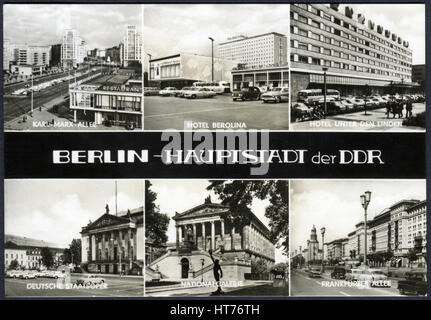 GERMANY - CIRCA 1968: A postcard printed in Germany, shows the landmarks of Berlin, circa 1968 - Stock Image