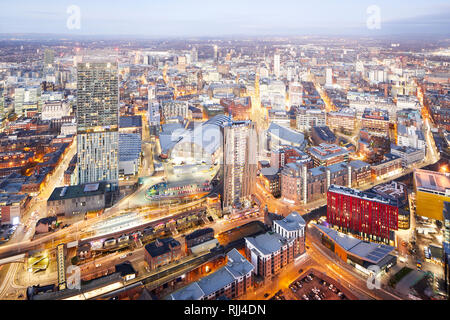 View from the South tower of Deansgate Square looking down at Manchester City Centres skyline looking Deansgate locks whitworth Street - Stock Image