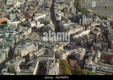 Aerial view of Trafalgar Square, Admiralty Arch, the front of the National Gallery with Charing Cross Staion in the background - Stock Image