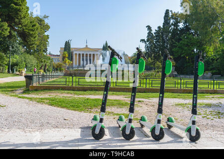 Athens, Greece - April 28 2019: Lime-S electric scooters parked outside Zappeion at Athens city center - Stock Image