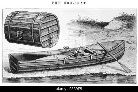 wood box rowing boat circa 1885 - Stock Image