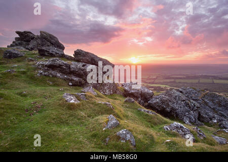 Beautiful sunset from Sourton tor Dartmoor national park Devon Uk - Stock Image