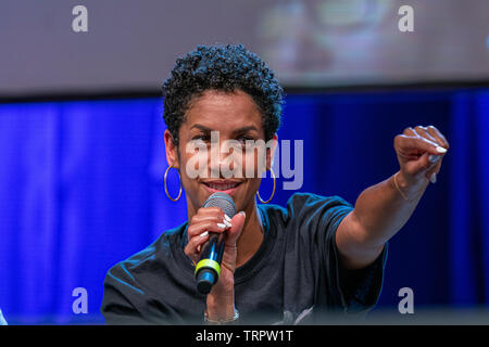 Bonn, Germany - June 8 2019: Dominique Tipper (*1987, British actress, singer-songwriter and dancer - The Expanse) talks about her experiences in The Expanse at FedCon 28 - Stock Image