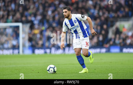 Alireza Jahanbakhsh of Brighton during the Premier League match between Brighton & Hove Albion and Huddersfield Town at the American Express Community Stadium . 02 March 2019 Editorial use only. No merchandising. For Football images FA and Premier League restrictions apply inc. no internet/mobile usage without FAPL license - for details contact Football Dataco - Stock Image