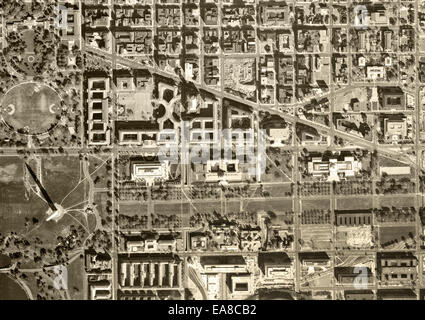 historical aerial photograph of Capitol Mall, Washington Monument, Washington, DC, 1968 - Stock Image