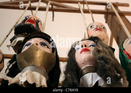 Close of of a large male Sicilian marionette / puppet with ginger hair and blue eyes - Stock Image