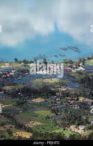 High angle view of Lake Maninjau, West Sumatra, Indonesia - Stock Image