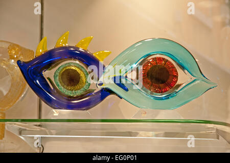 Example of Murano glass artwork  Depicting  EYES on sale in shop on Calle Lungha Venice Italy  MURANO GLASS WORK - Stock Image