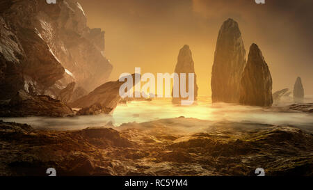 Fantasy landscape. Rock, cliff and stones with foggy sea. Mysterious scenery. 3D render illustration. - Stock Image