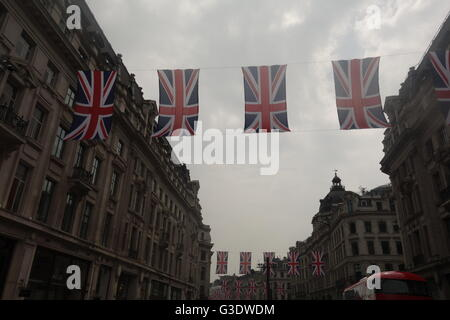Flags, Regent Street, London - Her Majesty The Queen's 90th Birthday Celebrations - Stock Image