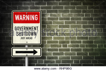 Warning - Government Shutdown - Stock Image