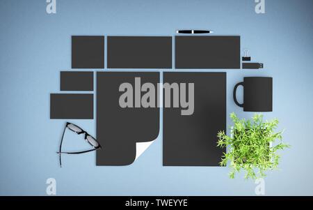 top view of dark branding elements on light blue desktop mockup 3d rendering - Stock Image